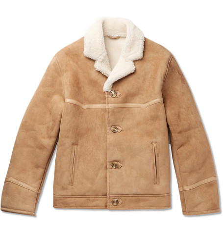Tequila's Statesman Leather-trimmed Shearling Bomber Jacket - Beige