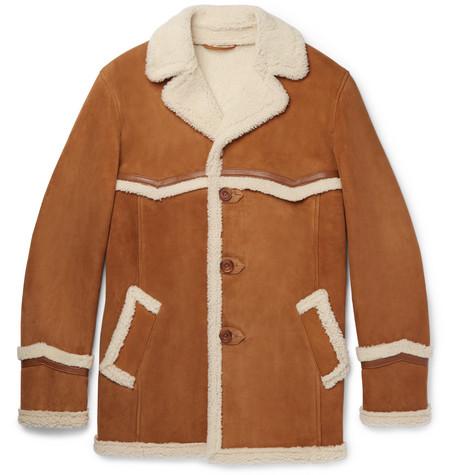 Kingsman Harry's Statesman Leather-trimmed Shearling Coat In Tan