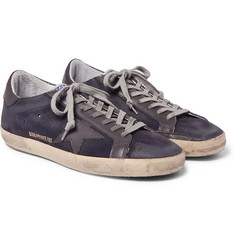 Golden Goose Deluxe Brand - Superstar Distressed Leather-Trimmed Suede Sneakers