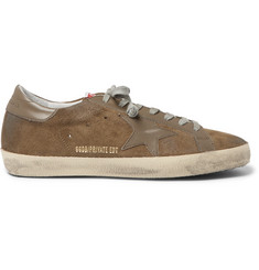 Golden Goose Deluxe Brand Superstar Distressed Leather-Trimmed Suede Sneakers