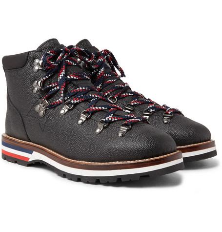 Moncler Peak Pebble-Grain Leather Hiking Boots cheap price in China marketable for sale x9u0du