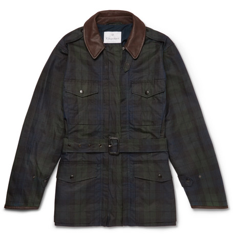 Kingsman + Mackintosh Merlin's Leather-trimmed Checked Waxed-cotton Field Jacket In Navy
