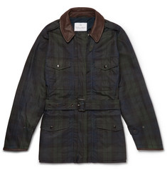 Kingsman + Mackintosh Merlin's Leather-Trimmed Checked Waxed-Cotton Field Jacket
