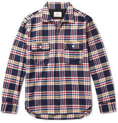 Battenwear - Garage Checked Cotton-Flannel Half-Zip Overshirt