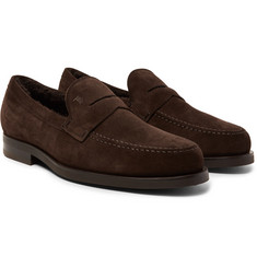 Tod's - Shearling-Lined Suede Penny Loafers