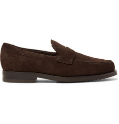 Tod's Shearling-Lined Suede Penny Loafers