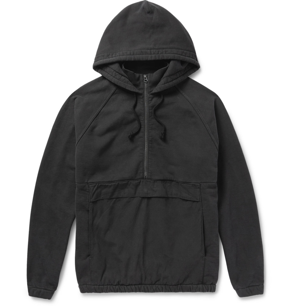 Ripstop-panelled Cotton-jersey Hooded Anorak - Black