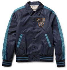 Valentino - Leather-Appliquéd Shell Varsity Jacket