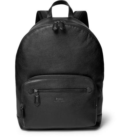 Polo Ralph Lauren Full-grain Leather Backpack In Black