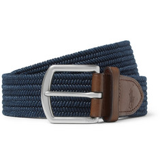 Polo Ralph Lauren 3.5cm Navy Leather-Trimmed Woven Belt