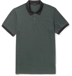 Theory Two-Tone Pima Cotton-Blend Piqué Polo Shirt