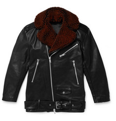 CMMN SWDN Alec Shearling-Trimmed Leather Biker Jacket