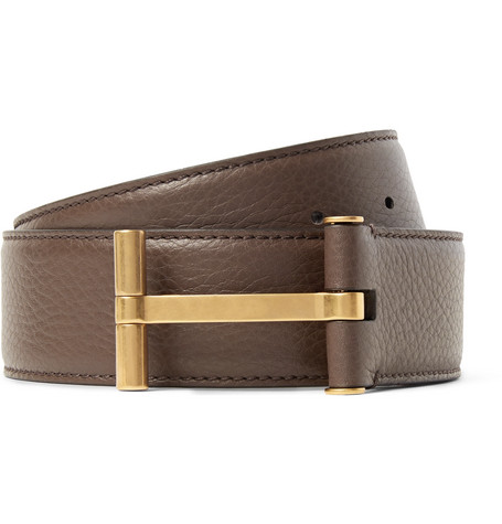 4cm Brown Full-grain Leather Belt - Brown