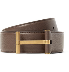 TOM FORD - 4cm Brown Full-Grain Leather Belt