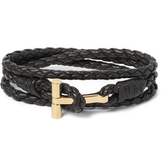 TOM FORD Woven Leather Gold-Plated Wrap Bracelet