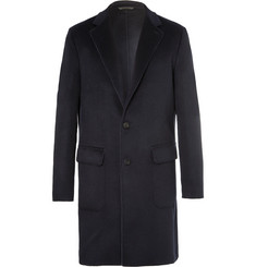 Loro Piana Suede-Trimmed Double-Faced Cashmere Rain System Coat