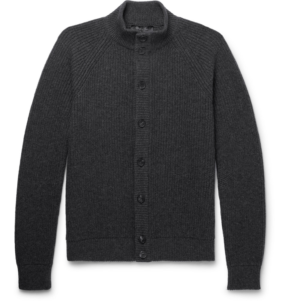 Slim-fit Suede-trimmed Ribbed Cashmere Cardigan - Charcoal
