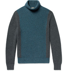 Loro Piana Dolcevita Fortrose Colour-Block Ribbed Cashmere Rollneck Sweater