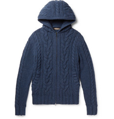 Loro Piana Cable-Knit Cashmere Zip-Up Hoodie