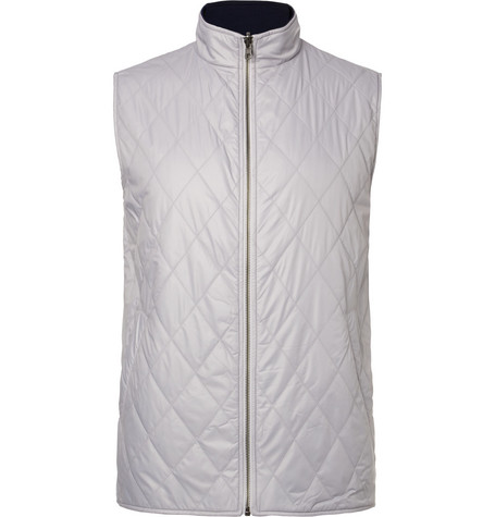 dunhill links male fraser reversible quilted shell and wool golf gilet