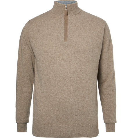 dunhill links male cashmere halfzip golf sweater