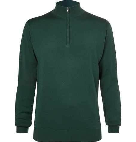 dunhill links male merino wool halfzip golf sweater
