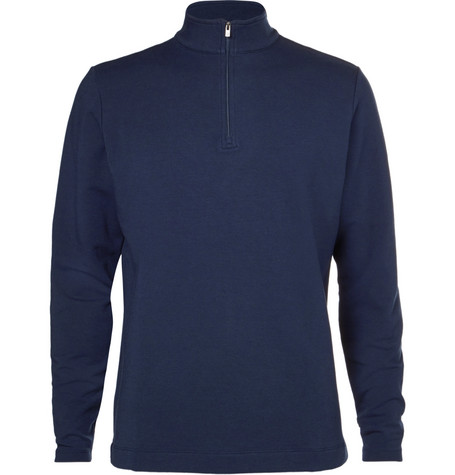 dunhill links male baker street stretch cotton and modalblend halfzip sweater