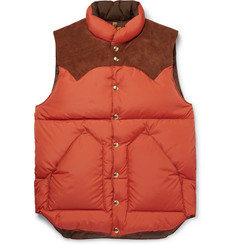 Rocky Mountain Featherbed Suede-Trimmed Quilted Nylon Down Gilet