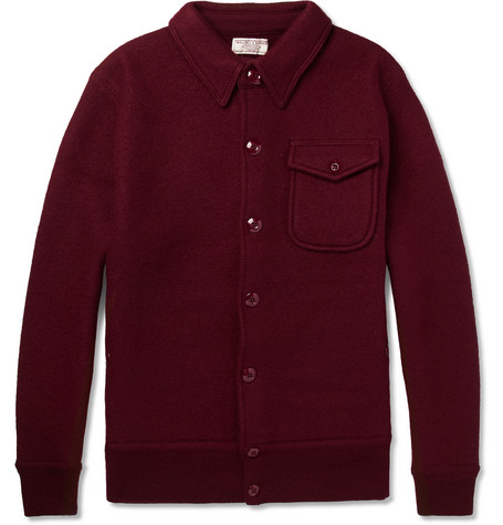 Eisenhower Felted Wool Bomber Jacket - Burgundy