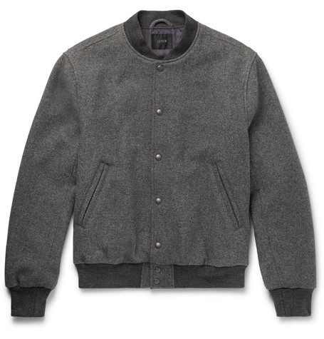Stadium Wool-blend Bomber Jacket - Gray