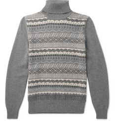 Loro Piana Fair Isle Cashmere and Silk-Blend Rollneck Sweater