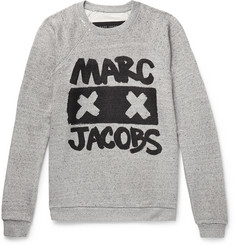 Marc Jacobs - Printed Mélange Loopback Cotton and Silk-Blend Jersey Sweatshirt