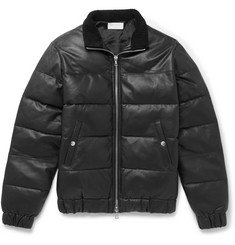 John Elliott Shearling-Trimmed Quilted Leather Down Jacket