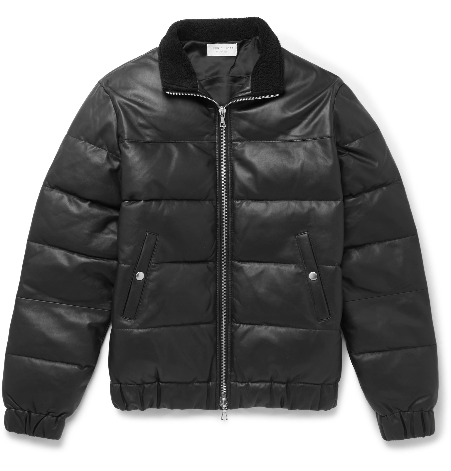 John Elliott - Shearling-Trimmed Quilted Leather Down Jacket