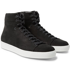 John Elliott Cap-Toe Leather-Trimmed Nubuck High Top Sneakers