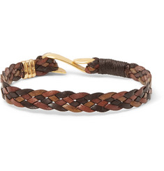 Paul Smith Woven Leather Gold-Tone Bracelet