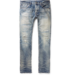 Fabric-Brand & Co - Emmet Slim-Fit Distressed Selvedge Denim Jeans