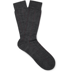 Pantherella Cabbell Pinstriped Merino Wool-Blend Socks