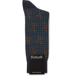 Pantherella Hopton Houndstooth Merino Wool-Blend Socks