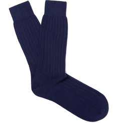 Sunspel Ribbed Cashmere Bed Socks