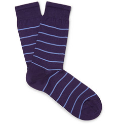 Sunspel Striped Mercerised Cotton-Blend Socks