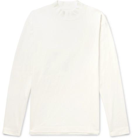 Camoshita Cotton-jersey Mock-neck T-shirt In White
