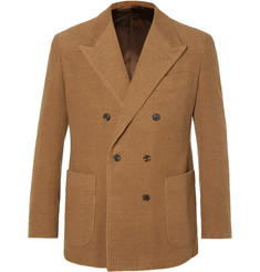 Camoshita - Tan Double-Breasted Camel and Cotton-Blend Corduroy Suit Jacket