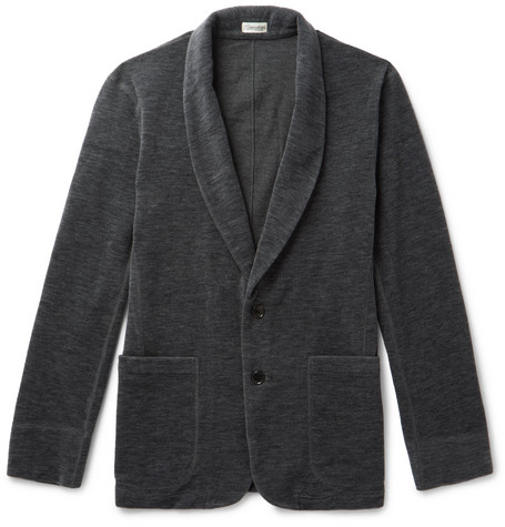 Camoshita Brushed Wool-blend Shawl-collar Cardigan In Gray