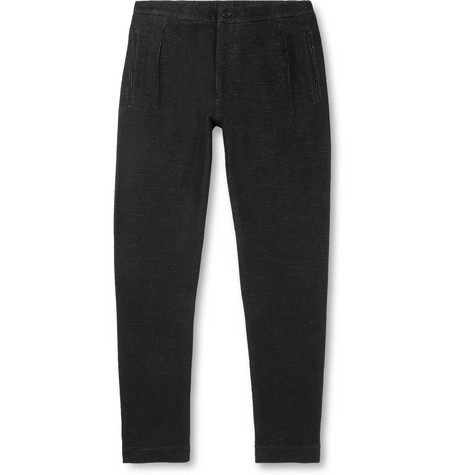 Camoshita Wool And Cotton-blend Trousers In Black