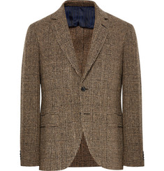 MP Massimo Piombo Brown Slim-Fit Prince of Wales Checked Slub Wool-Blend Blazer