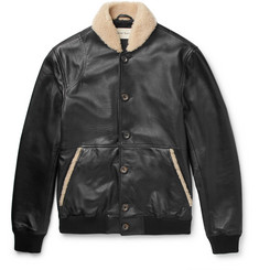 Oliver Spencer Bedford Shearling-Trimmed Leather Bomber Jacket