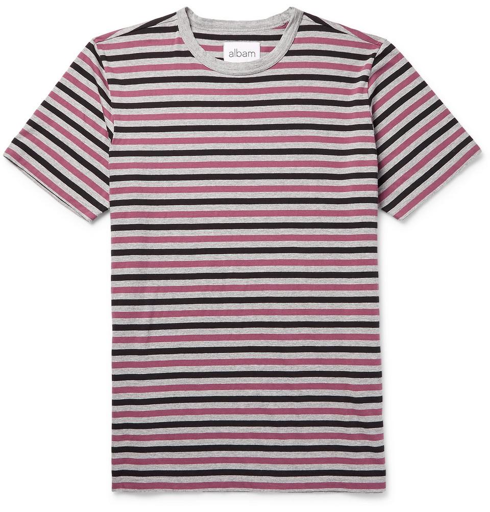 Mélange Striped Cotton-jersey T-shirt - Gray