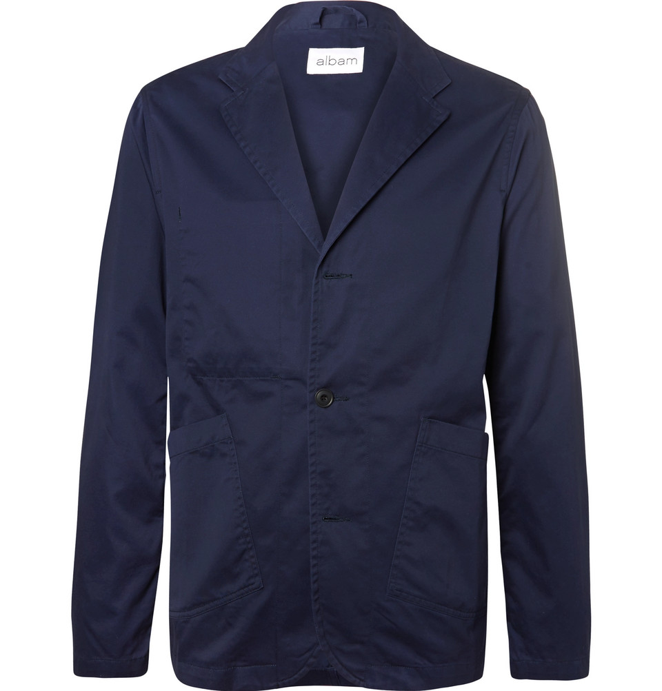 Unstructured Cotton-twill Blazer - Navy