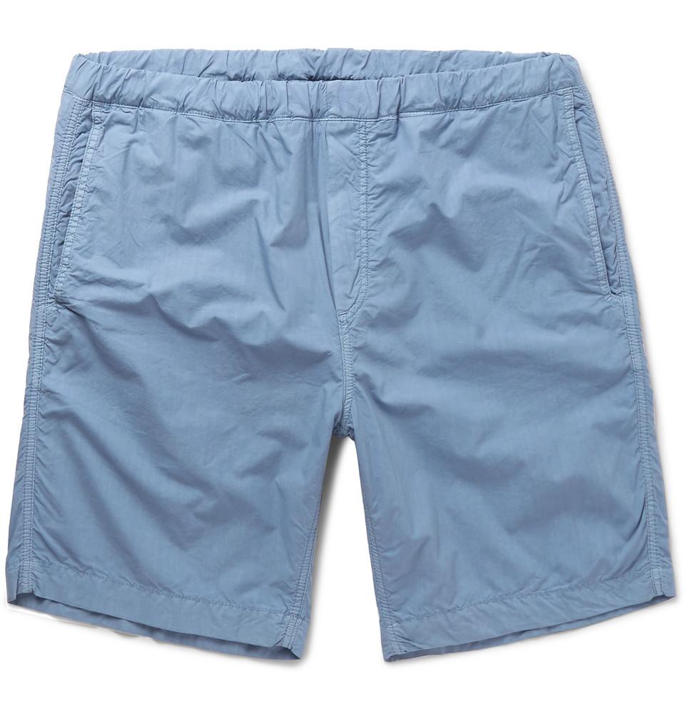 Garment-dyed Cotton-canvas Shorts - Blue